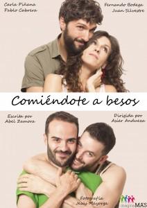 """Cartel de la obra de teatro """"Comiéndote a besos"""""""