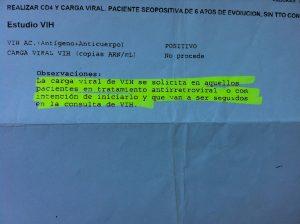 petición denegada análisis VIH